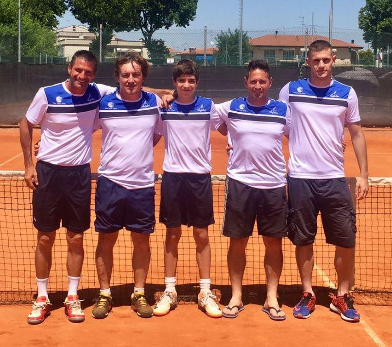 Squadra maschile D1, da sx Callegaro, Pozzati, Mihalache, Bartolucci e Manfrin